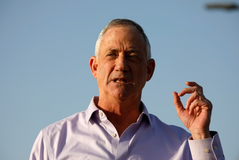 Benny Gantz, head of Blue and White party speaks to the media in Kibbutz Nir-Am