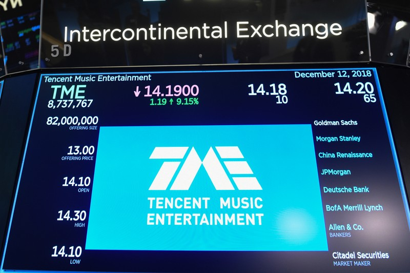 Tencent Music Entertainment company is seen officially listed on the floor of the New York Stock Exchange (NYSE) in New York