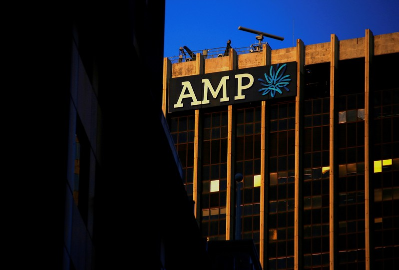 FILE PHOTO: The logo of AMP adorns the head office of Australia's biggest retail wealth manager in Sydney