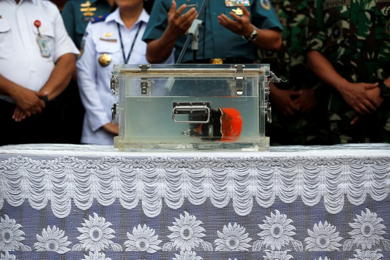 Cockpit Voice Recorder (CVR) of a Lion Air JT610 that crashed into Tanjung Karawang sea is seen inside a special container after it was found under the sea, during a press conference at Tanjung Priok Port in Jakarta
