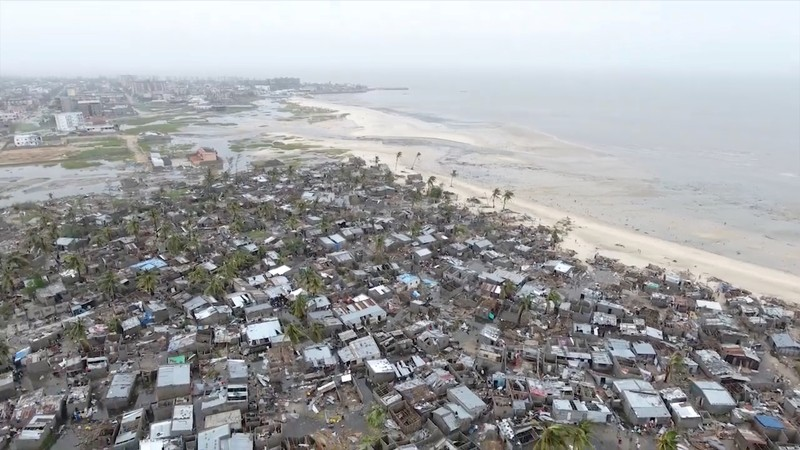 Drone footage shows destruction after Cyclone Idai in the settlement of Praia Nova, which sits on the edge of Beira