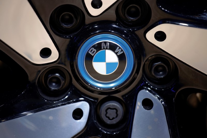 FILE PHOTO: The BMW logo is seen on the wheel of a vehicle presented at the Auto China 2016 auto show in Beijing