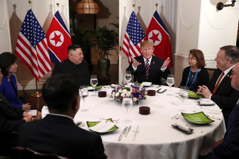 FILE PHOTO - U.S. President Donald Trump meets with North Korean leader Kim Jong Un in Hanoi