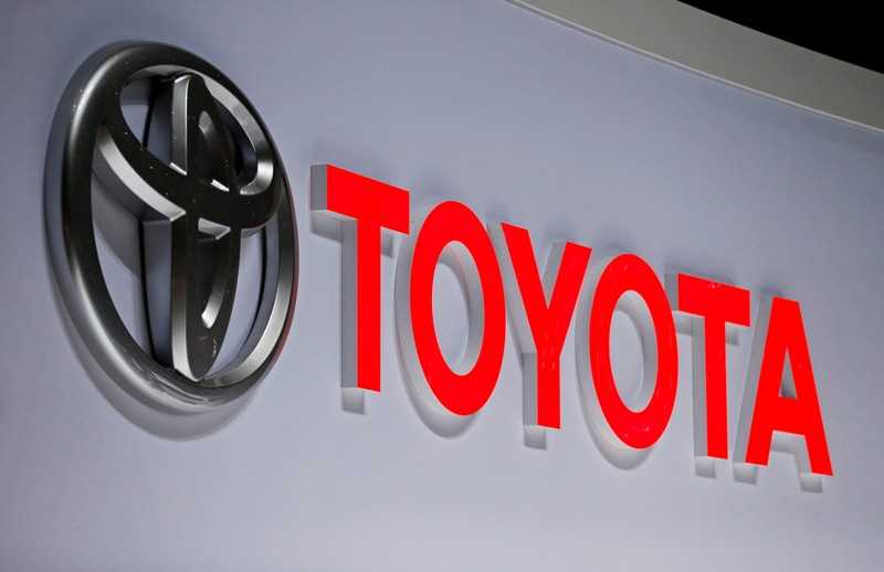 FILE PHOTO : A Toyota logo is displayed at the 89th Geneva International Motor Show in Geneva