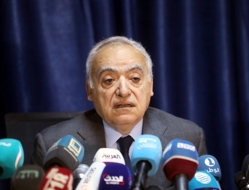 The U.N. Envoy for Libya, Ghassan Salame, speaks during a news conference in Tripoli