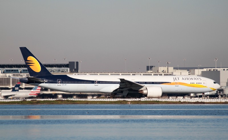 FILE PHOTO: A Jet Airways Boeing 777-300ER taxis at San Francisco International Airport, San Francisco, United States