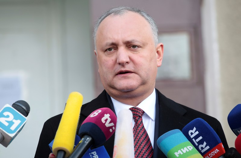 Moldovan President Dodon visits a polling station during a parliamentary election in Chisinau