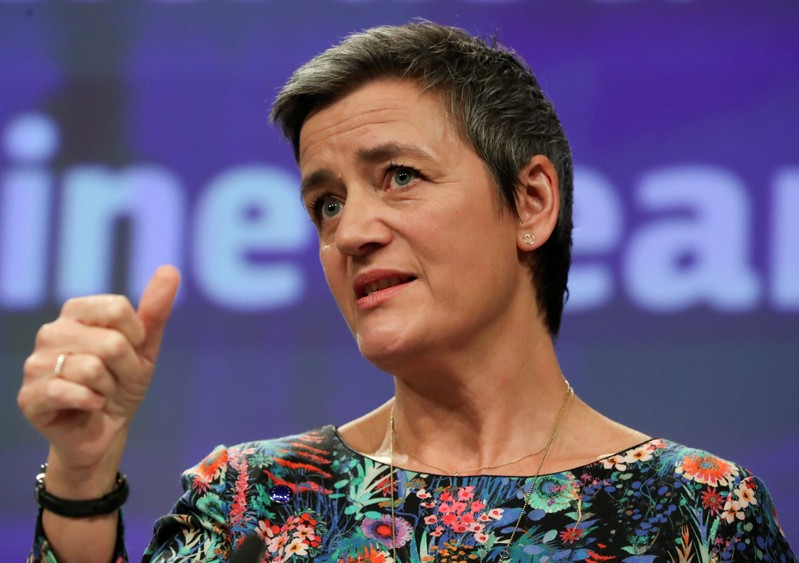 European Competition Commissioner Margrethe Vestager talks to the media at the European Commission headquarters in Brussels