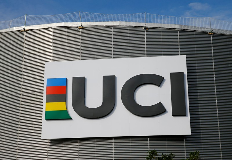 A logo is pictured on the indoor track at the International Cycling Union (UCI) Federation headquarters in Aigle