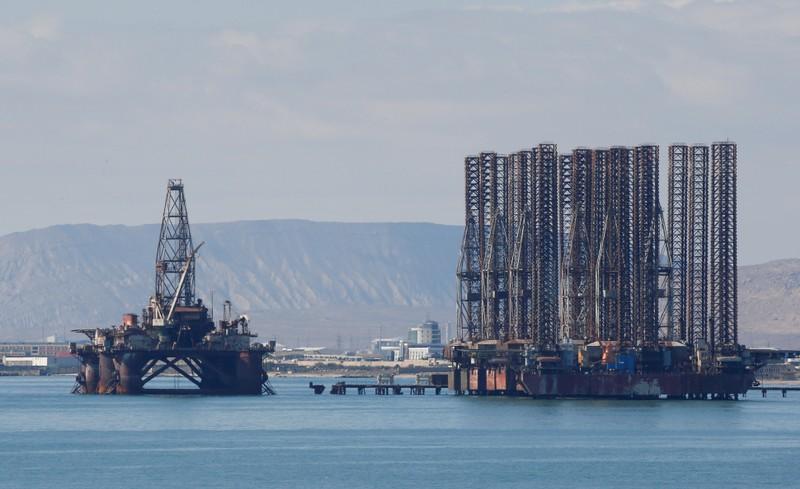 FILE PHOTO: An offshore oil rig is seen in the Caspian Sea near Baku