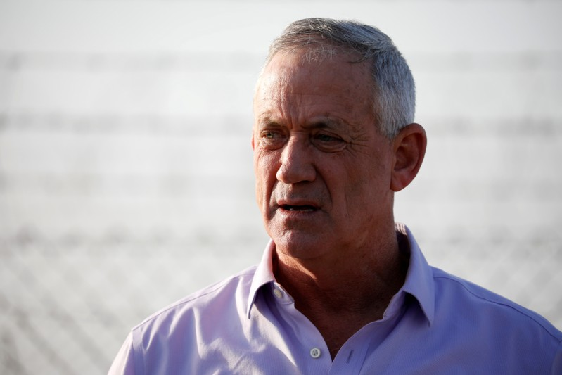 FILE PHOTO: Benny Gantz, head of Blue and White party speaks to the media in Kibbutz Nir-Am
