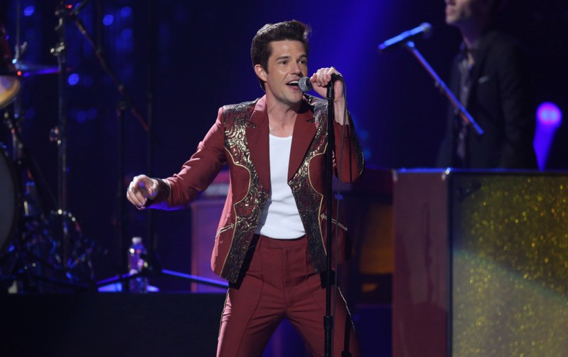 Brandon Flowers of The Killers performs at a Rock & Roll Hall of Fame induction show in Cleveland, Ohio