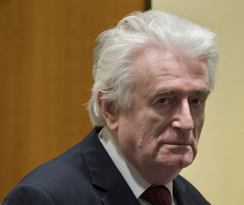 Former Bosnian Serb leader Radovan Karadzic appears before the Appeals Chamber of the International Residual Mechanism for Criminal Tribunals (