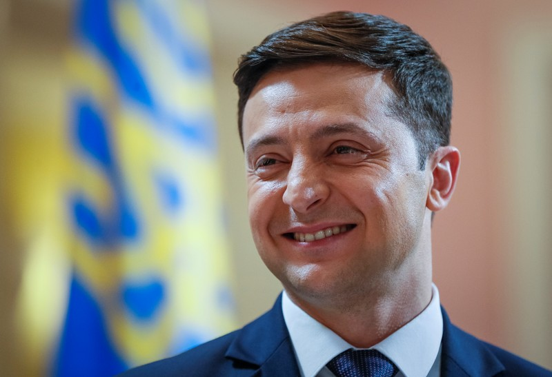 Volodymyr Zelenskiy, Ukrainian comic actor and candidate in the upcoming presidential election, takes part in a production process of Servant of the People series in Kiev
