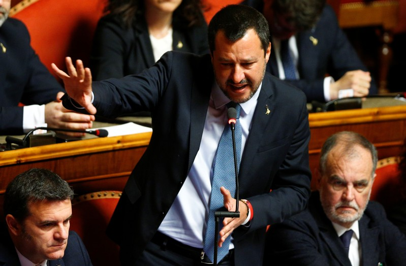 Deputy Prime Minister Matteo Salvini speaks in the upper house of the Italian parliament, in Rome