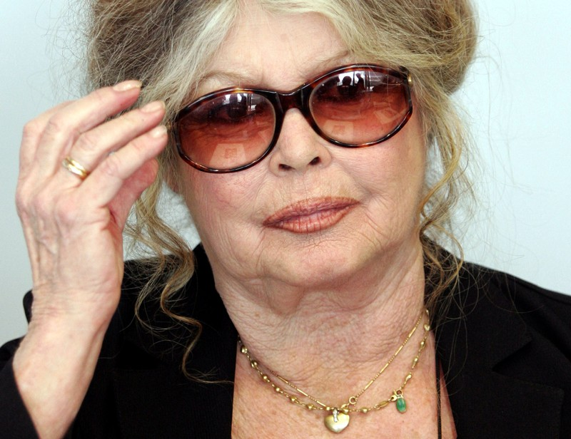FILE PHOTO: Brigitte Bardot the former French film star turned animal rights activist gestures as she speaks to ..