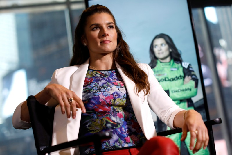 FILE PHOTO: Professional race car driver Danica Patrick poses for a photograph during an interview with Reuters in New York City