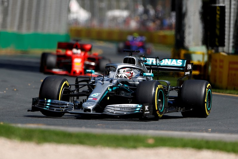 FILE PHOTO: Lewis Hamilton in action during practice for the Australian Grand Prix