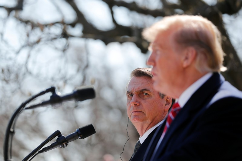 U.S. President Trump and Brazilian President Bolsonaro hold news conference at the White House in Washington
