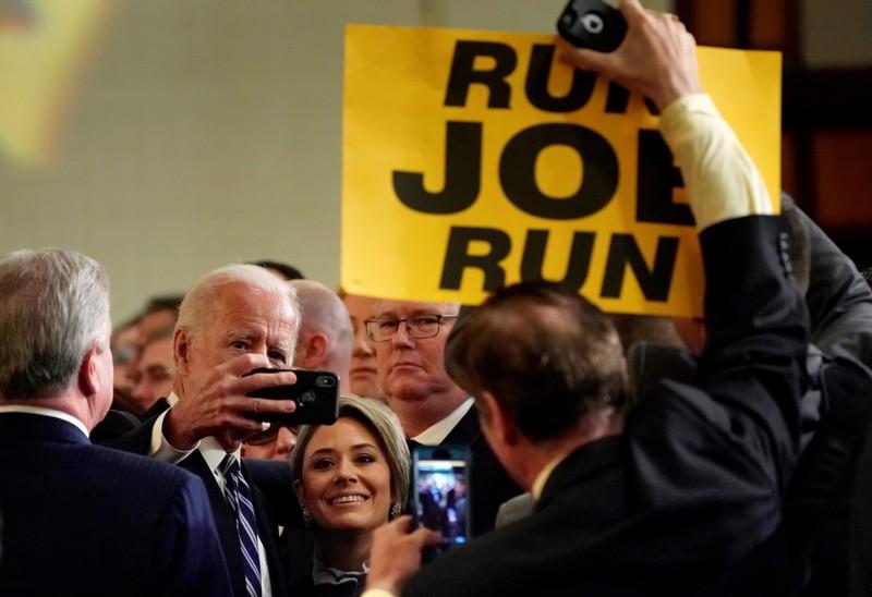 FILE PHOTO: Joe Biden speaks to fire fighters in Washington