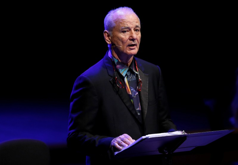 FILE PHOTO: Actor Bill Murray recites his words during a performance with cellist Jan Vogler from their new album New Worlds, at the Southbank Centre in London