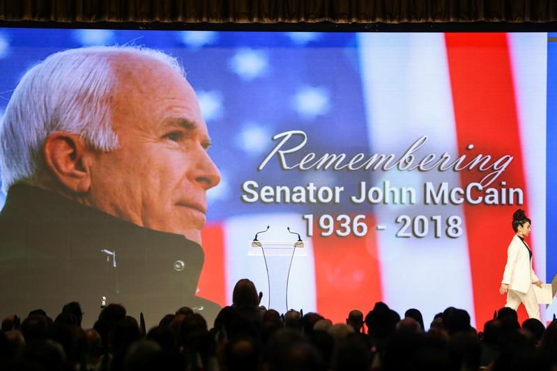 Late senator John McCain is honored during the 2018 Iran Uprising Summit in New York