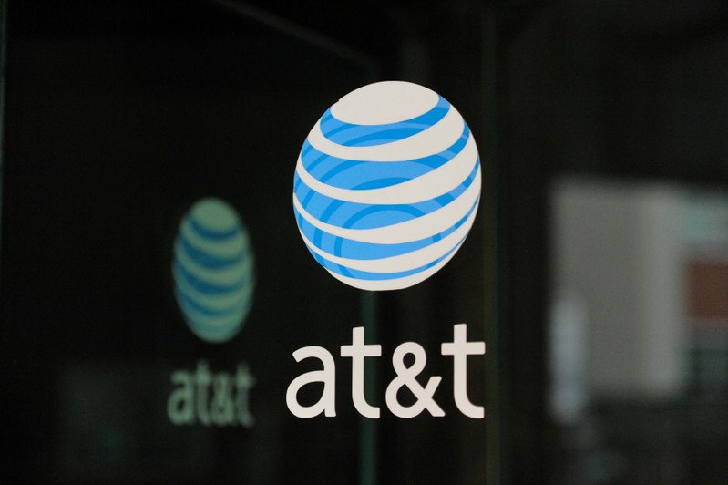 FILE PHOTO: An AT&T logo is seen at a AT&T building in New York City
