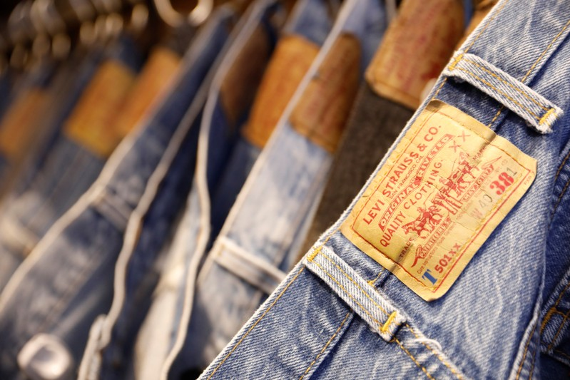 Jeans trousers are displayed at a Levi Strauss store in New York
