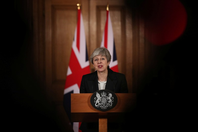 Britain's Prime Minister Theresa May makes a statement about Brexit in Downing Street in London