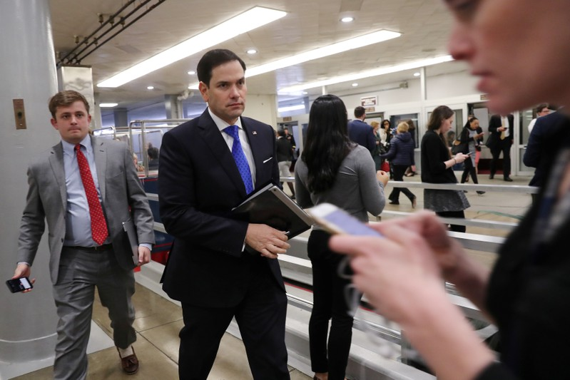 U.S. Senator Rubio arrives at the U.S. Capitol in Washington