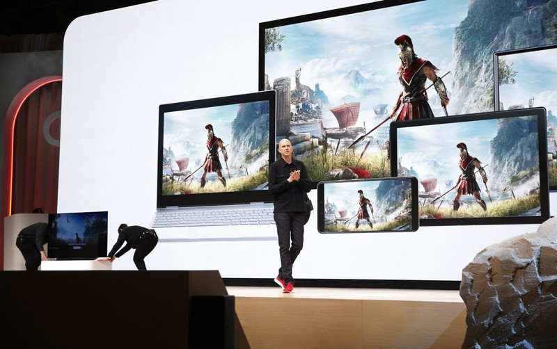 Google vice president and general manager Phil Harrison speaks during a Google keynote address announcing a new video gaming streaming service named Stadia at the Gaming Developers Conference in San Francisco