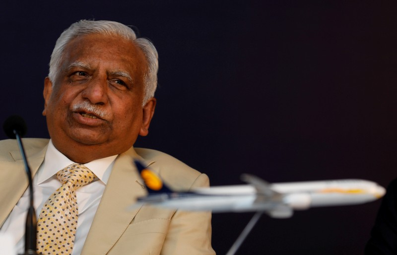 FILE PHOTO: Naresh Goyal, Chairman of Jet Airways speaks during a news conference in Mumbai