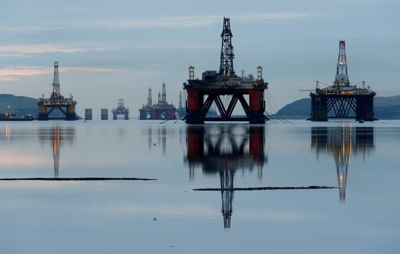 FILE PHOTO: Drilling rigs in the Cromarty Firth near Invergordon, Scotland