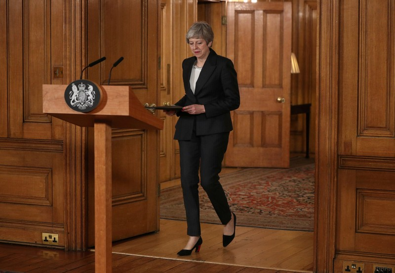 Britain's Prime Minister Theresa May prepares to make a statement about Brexit in Downing Street in London
