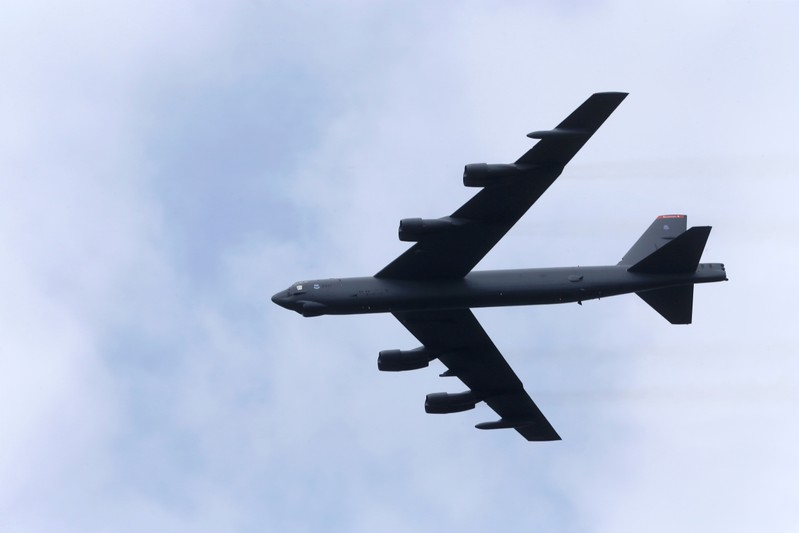 U.S. bomber B-52 flies over during the final day of NATO Saber Strike exercises in Orzysz