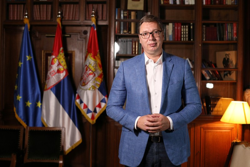 Serbian President Aleksandar Vucic poses during an interview with Reuters in Belgrade, Serbia