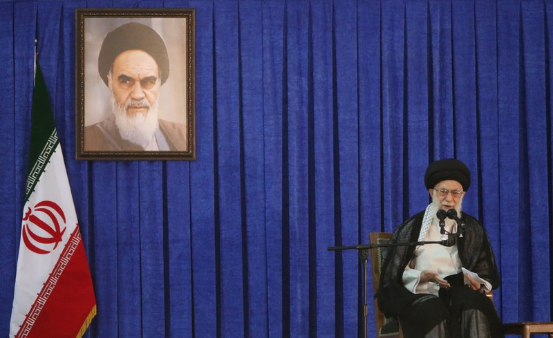 Iran's Supreme Leader Ayatollah Ali Khamenei delivers a speech during a ceremony marking the death anniversary of the founder of the Islamic Republic Ayatollah Ruhollah Khomeini, in Tehran