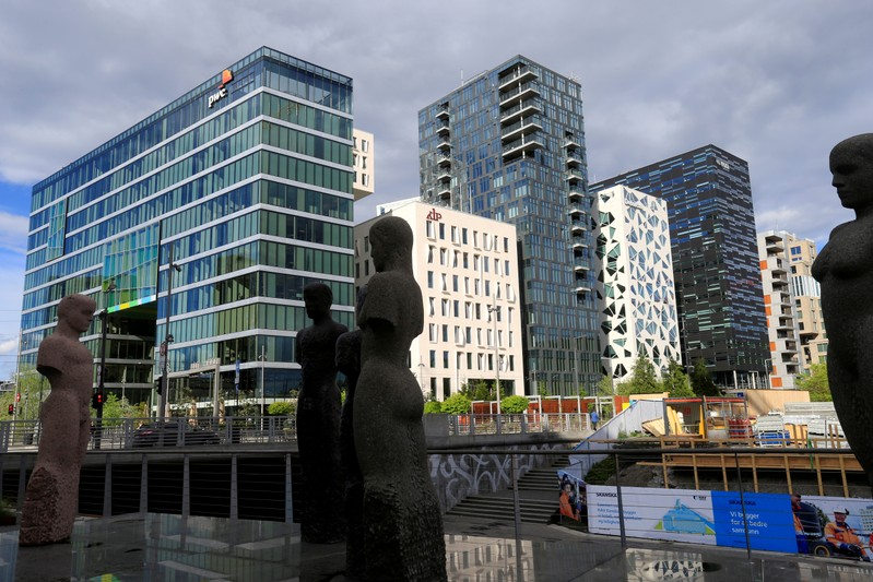 FILE PHOTO: Buildings are seen in the financial district in Oslo,