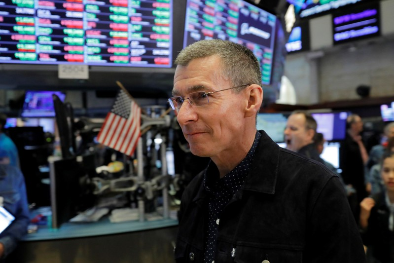 Levi Strauss & Co. CEO Chip Bergh on floor of New York Stock Exchange (NYSE) during company's IPO in New York
