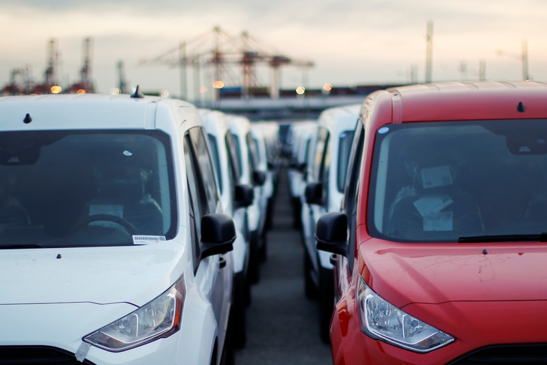 Imported automobiles are parked in a lot at the port of Newark New Jersey