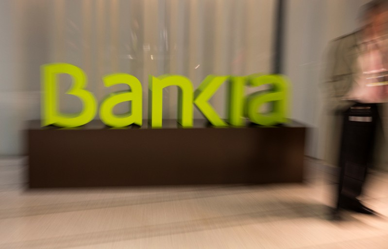 Spain's Bankia logo is seen inside bank's headquarters before a news conference to present their annual results in Madrid