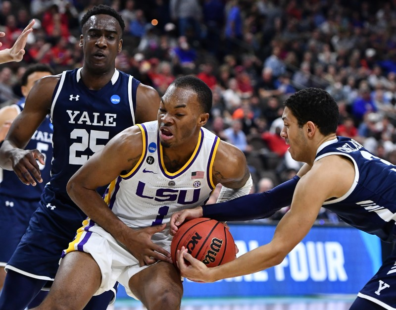 Yale's tourney stay a short one; LSU hangs on for victory