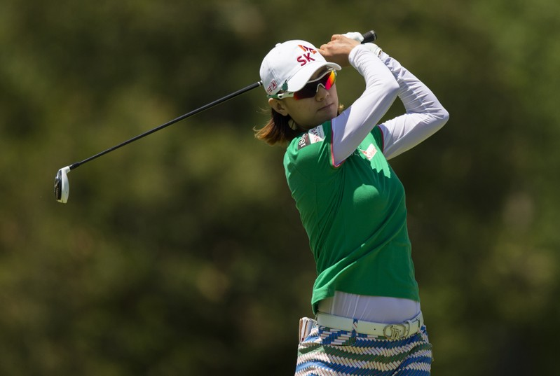 Choi of South Korea tees off during the Manulife Financial LPGA Classic women's golf tournament in Waterloo