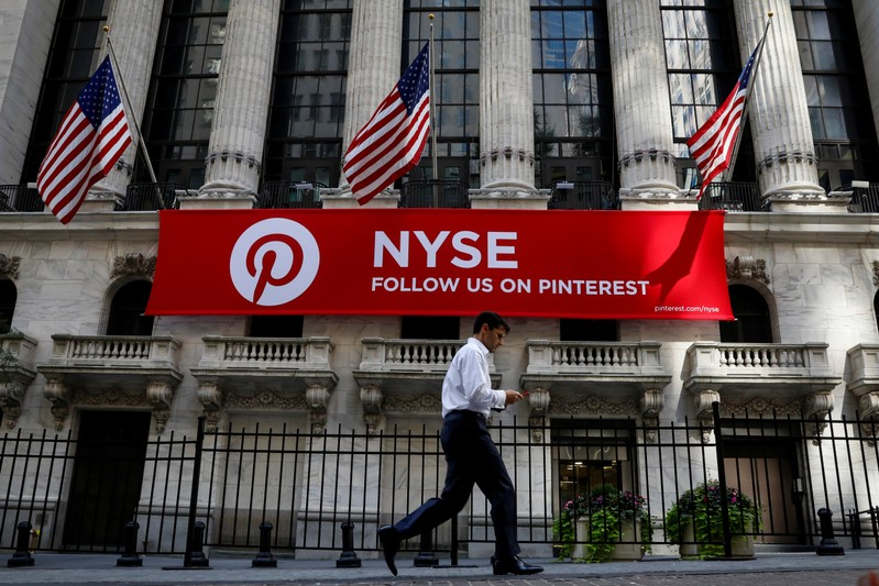 FILE PHOTO: A Pinterest banner hangs on the facade of the NYSE in New York