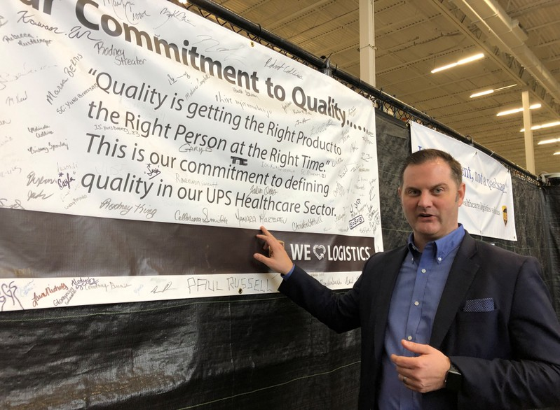 Chris Cassidy, who leads United Parcel Service's (UPS) global healthcare logistics strategy, is seen at the package delivery firm's Worldport sorting facility in Louisville, Kentucky