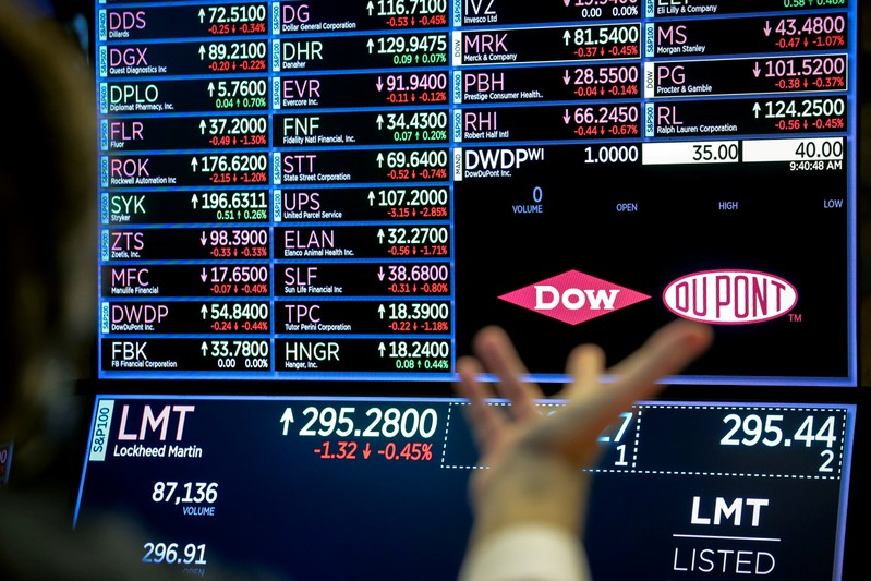 FILE PHOTO: A screen displays the trading information for chemical producer DowDuPont Inc. on the floor at the NYSE in New York