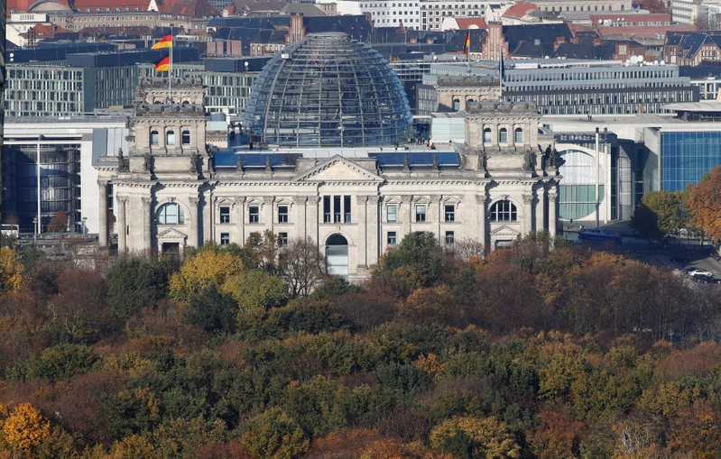 FILE PHOTO: The Reichstag building, the seat of the German lower house of parliament Bundestag is pictured at the Tiergarten park with autumnal trees in Berlin