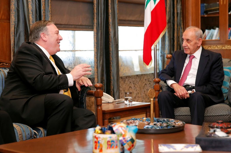 U.S. Secretary of State Mike Pompeo meets with Lebanese Parliament Speaker Nabih Berri