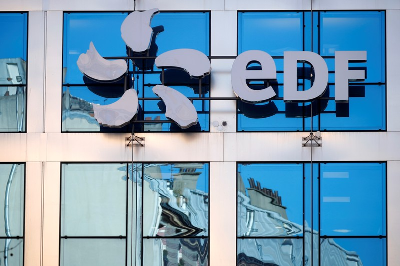 The logo of EDF is seen on the French state-controlled utility EDF's headquarters in Paris