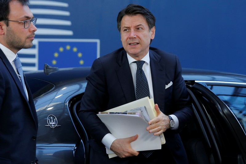 Italian Prime Minister Guiseppe Conte arrives at a European Union leaders summit in Brussels